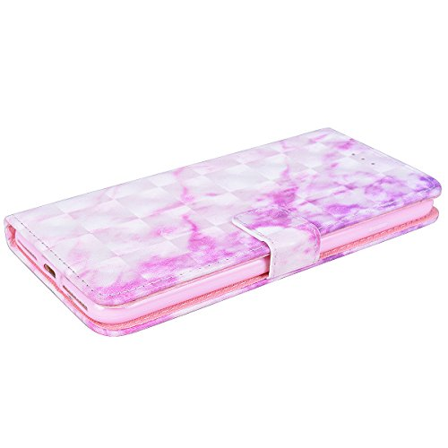 Custodia per iPhone 6 Plus / iPhone 6S Plus, VemMore Case 3D in Pelle Flip Portafoglio PU e Sottile Morbido TPU Silicone Cover con Marmo Pattern di Stent Supporto per Porta Carte di Credito Caso Fibbi Rosa