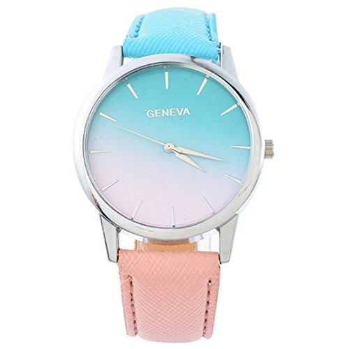 Souarts Damen Armbanduhr Farbverlauf Einfach Stil Analoge Quary Uhr 24cm (Blau-Rosa Farbverlauf)