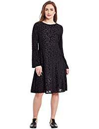 VAAK WOMENS BLACK DRESS IN BURNT OUT FABRIC