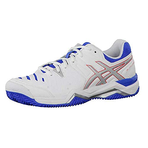 Asics ASICS Damen Gel-Challenger 10 Clay Tennisschuhe Weiß/Silberfarben/Blau 37,5 EU