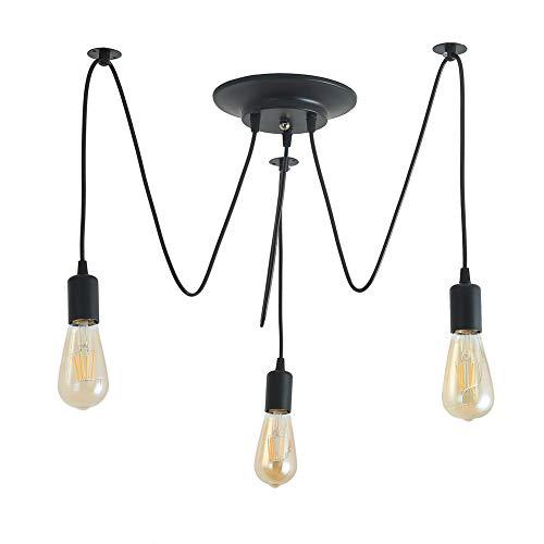 Lámpara de Techo Iluminación Colgante 3 Brazos E27 Tipo de Base Cada Uno con Cable 1.8m Antiguo Clásico Ajustable Retro DIY Lámpara Pendiente