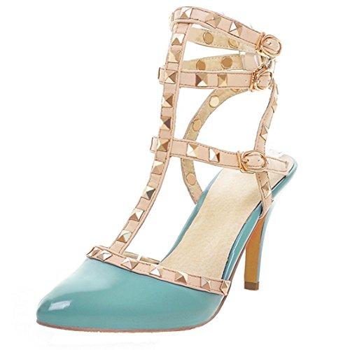 AIYOUMEI Damen Slingback T-spangen Sandalen mit Nieten Stiletto High Heels Sommer Pumps Schuhe Patent Slingback High Heel
