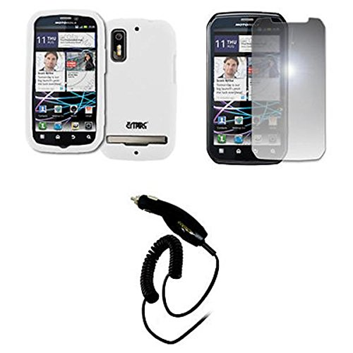 EMPIRE Weiß Silicone Skin Case Tasche Hülle Cover + Mirror Displayschutzfolie Film + Auto Charger (CLA) for Sprint Motorola Photon 4G (Photon Sprint Motorola)
