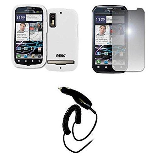EMPIRE Weiß Silicone Skin Case Tasche Hülle Cover + Mirror Displayschutzfolie Film + Auto Charger (CLA) for Sprint Motorola Photon 4G (Photon Motorola Sprint)