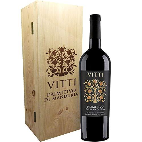 Vitti Primitivo di Manduria Magnum 1.5 Litri | Vino Rosso DOP | Confezione Regalo con Cassa in Legno | I Vini della Puglia