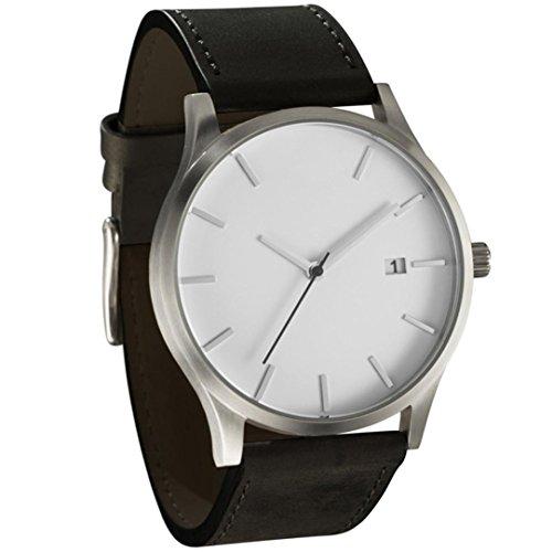 Fasching Karneval Uhren Dellin Populäre Low-Key Minimalist Connotation Leder Herren Quarz Armbanduhr (A Weiß)