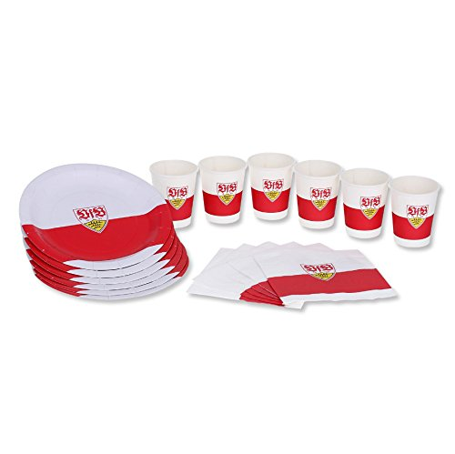 Six Pack Bier Kostüm - VfB Stuttgart Party Set 6er Pack ( 6 Pappteller, 6 Servietten, 6 Pappbecher ) 100% aus Papier