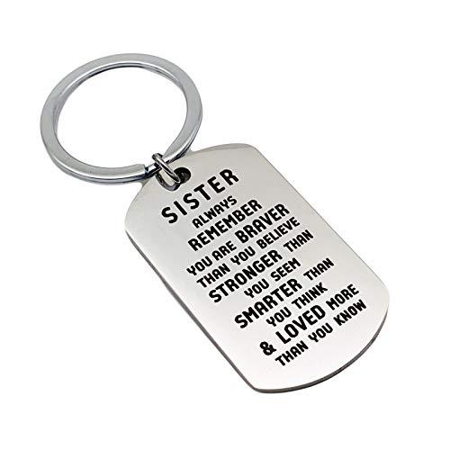 LOUMVE Edelstahl Schlüsselanhänger mit Gravur Sister Always Remember You Are Braver Than You Believe Rechteck Tag Schlüsselbund Silber 36x22MM Inspirierende Geschenke