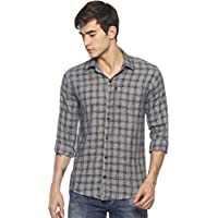 LEVIZO Men's Checkered 100% Cotton Casual Classic fit Full Sleeves Shirt Blue Size L