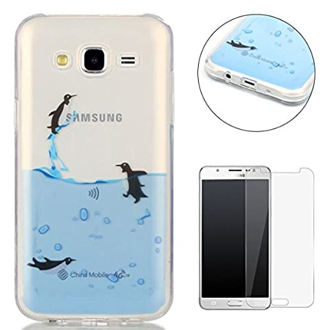 Samsung Galaxy J5 2015/J500FN Silicone Gel Case [with Free Screen Protector],CaseHome Crystal Clear Shock Proof Soft Durable Scratch Resistant Jelly Rubber TPU Protective Case Cover Skin Shell for Samsung Galaxy J5 2015/J500FN with Beautiful Colourful Pattern Design-Flying Penguin