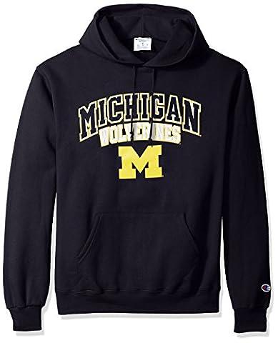 NCAA Michigan Wolverines Men's ECO Power Blend Hooded Sweatshirt, X-Large, Navy