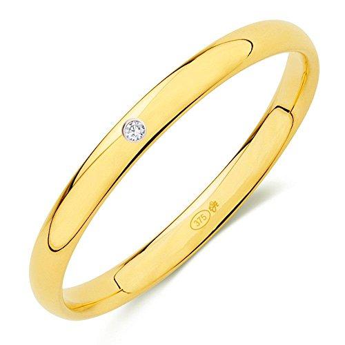 tuAlianza - Fedi Nuziali Da Matrimonio, in Oro (9k) larghezza 2,5mm con 1Swarovski e Oro giallo, 7, cod. 9AC251Z_nº7