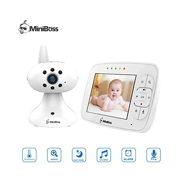 """MiniBoss Baby Monitor with Camera Video Audio Monitor 3.5"""" LCD Screen Temperature Sensor Night Vision Lullaby Two-Way Talk  【Wireless & Secure Connection】The baby monitor equipped with 2.4GHz digital frequency provides security and interference-free connection without any network access. 【Upgraded Camera & VOX Function】The video baby monitor offer high definition and stable audio video streaming to last 7 hours per fully charged. It covers a long distance transmission range of up to 960 feet, and expandable up to 4 cameras for simultaneous monitoring. 【Two-way Talk & Lullabies】The audio baby monitor has advanced built-in microphone and speaker for clear two-way audio conversations between the wireless monitor and camera sides. Allows you to talk back promptly or play lullabies to soothe baby when she is crying. 1"""