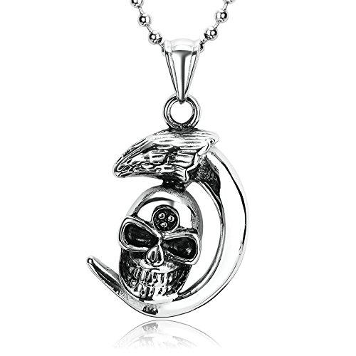 Anyeda Herren Kette Anhänger Silber Schwarz Schädel Anhänger Halskette Anhänger Crescent Shaped Spike Skull Men Necklace