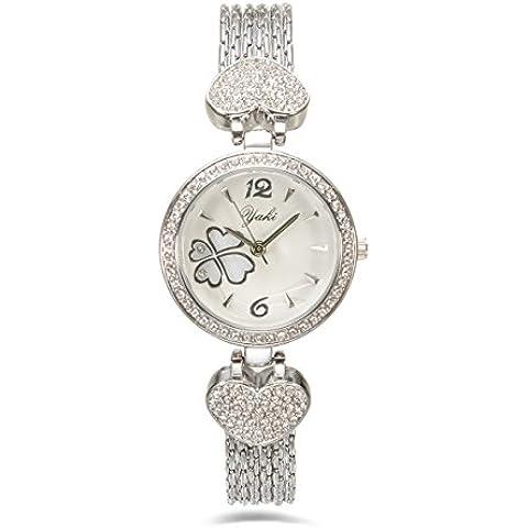 Relojes de pulsera elegante YAKI de cristal de relojes de pulsera de cuarzo analógico de pulsera para mujer de las mujeres con la cara de trébol de cuatro