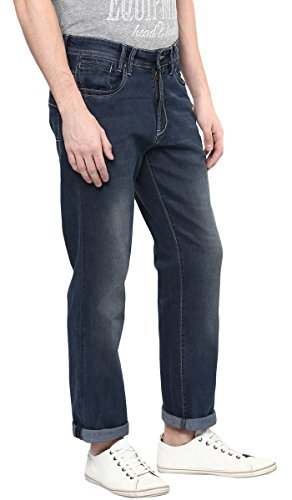 Richlook Männer Regular Fit Lässige Denim Glatt Blau Stretch Hose - Größe verfügbar Blau