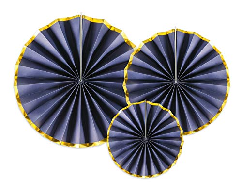 3 Papierfächer (Deko Rosetten Set 3 Stück, Papierfächer Dunkelblau Gold Party Deko Girlande)