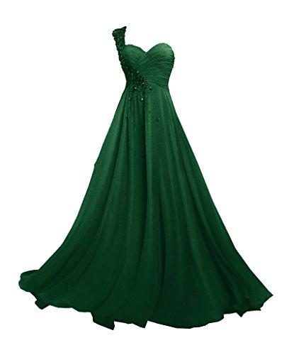 JAEDEN Femmes Une ¨¦paule Robes de demoiselle d'honneur Longue Mousseline de soie Robe de bal Robe de soiree Vert fonc¨¦