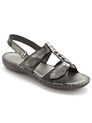 Pediconfort - Sandales ultra souples en cuir - femme - Taille : 38 - Couleur : Gris metal