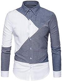 Herren Hemd Slim Fit Langarm Bügelfrei Shirt Casual Langarm Tops Männer  Hemden Asymmetrische Patchwork Oberteile Blusen 0df9c8c740