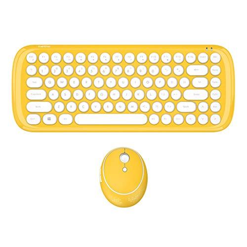 Tensay Funktastatur mit Maus USB Tastatur Maus Set Kabellos Candy farbig matt rund Punk Drahtlose kompatibel für Windows Laptop Notebook Desktop-Computer (Gelb)