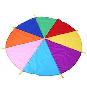Kids Parachute 8 Asas Arco iris Vistoso 2M Rainbow Parachute Niños Juego de Trabajo en Equipo para niños al Aire Libre