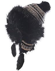BRUBAKER Damen Norweger Grobstrick Mütze Volumenmütze mit Fleece Innenfutter