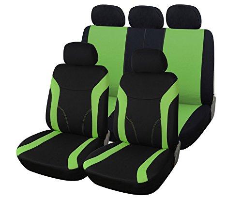 upgrade4cars Copri-sedili Auto Universale Verde Nero Set Copri-Sedile Universali per Anteriori e Posteriori Accessori Auto Interno