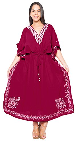 La Leela Designer vertuschen langen Strand Abendkleid Rayon Badebekleidung Badeanzug Kaftan Frauen Kimono Rosa