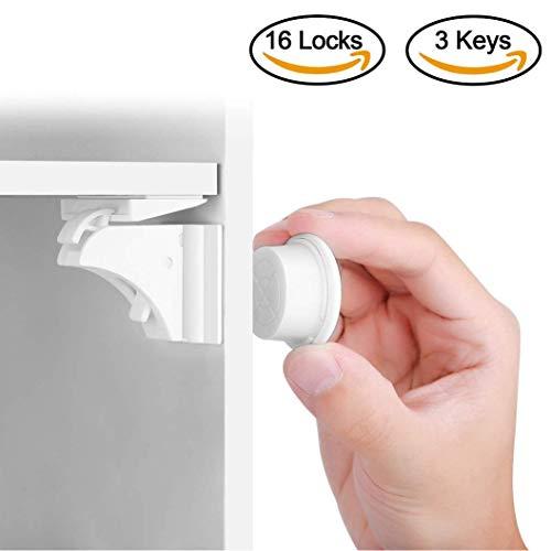 BALFER® Babysicherheit Magnetisches Schrankschloss 16 Schlösser mit 3 Schlüssel, unsichtbare Magnetschloss für Schrank und Schubladen, ohne Bohren und Schrauben, Installationschablone enthalten