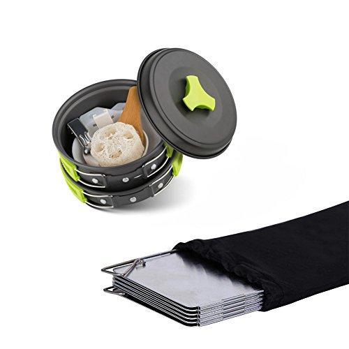 Cookware Outdoor Utensils Set Camping Cookware Coleman Mallome Mess Kit Lightweight Cookset Pot Pan Bowls,Free Folding Spork,Stove Winds Creen