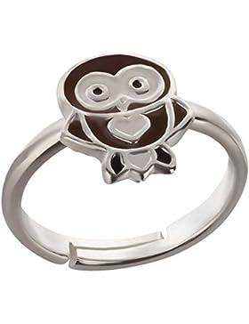 SL-Silver Kinder Ring kleine Eule Herz Grösse einstellbar 925 Sterling Silber in Geschenkverpackung
