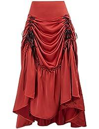 c1c3c30c52 Women Gothic Victorian Steampunk Ruched Skirt Vintage Retro Long Party Skirt