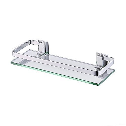 UMI.. Essentials Wall-Mounted Aluminum and Glass Bath Organizer Shelf