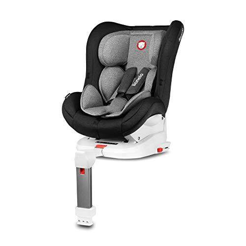 Lionelo Lennart Kindersitz mit ISOFIX und Standfuß, Autokindersitz Gruppe 0+1 (0-18kg), Liegeposition, ECE R44/04 (Schwarz)