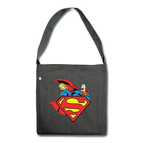 Spreadshirt DC Comics Originals Supergirl Und Superman Schultertasche aus Recycling-Material, Schwarz meliert