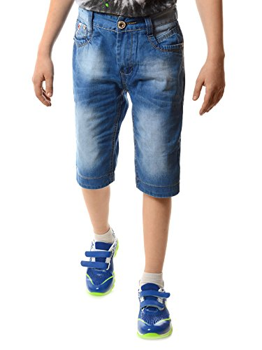Jungen Kurze Hose Capri Jeans 3/4 mit verstellbaren Bund 22134, Größe:152
