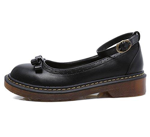Smilun Chaussures Femme Bride Cheville avec Nœud à Deux Boucles Bout Rond Noir