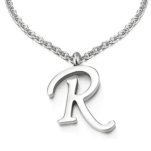 COOLSTEELANDBEYOND Name Initiale Alphabet Buchstaben R Anhänger Edelstah Halskette für Damen Herren Farbe Silber mit 50cm Stahl Seil-Kette