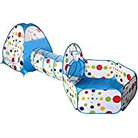 AAJ Children's Play Tent Tunnel Cubby-Tube-Teepee Playground 3-in-1 Pop-up Indoor Outdoor Game House Toy Hut Easy Fold Ocean Ball Pool with Basketball Hoop (BALLS NOT INCLUDED)