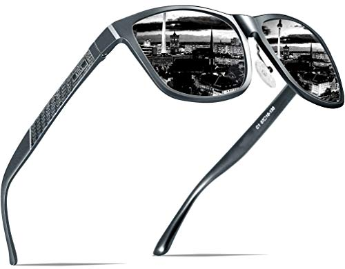ATTCL Herren Polarisierte Fahren Sonnenbrille Al-Mg Metall Rahme Ultra Leicht 8587-Gray