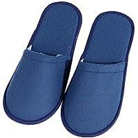 BESTOYARD Zapatillas de hotel Zapatillas de dedo del pie cerradas Zapatillas desechables mullidas Zapatillas de spa de viaje Azul Tamaño 43