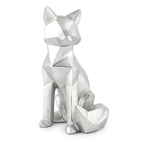 Pajoma 3D Statue \'\'Foxy\'\' matt silber, Fuchs Statue im Origami Stil, H 25 cm