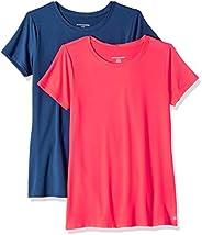 Marca Amazon - Amazon Essentials 2-Pack Tech Stretch Short-Sleeve Crewneck T-Shirt Mujer