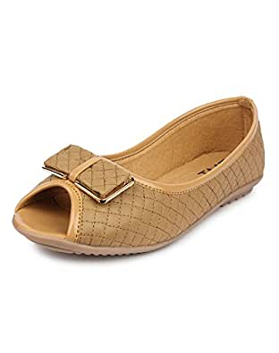 YAHE Women's Casual Napa Leather Open Toes Bellies Beige Y-39-BEIGE-37