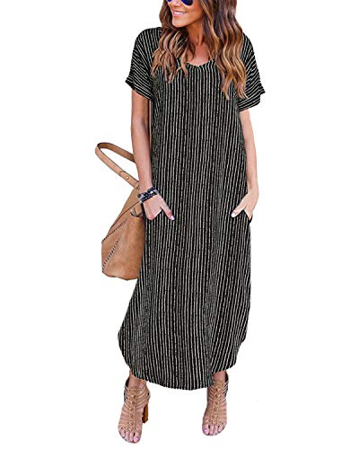 YOINS Robe Femme Manches Longues Robe Maxi Longue Chic Robe de Plage Asymétrique Robe Tunique Bohême Grand Taille, Noir-3,  EU 36-38(S)