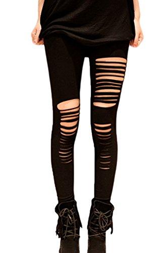 Frauen Elegant Riss Löcher Strumpfhosen Knöchel Leggings Hose Black One Size