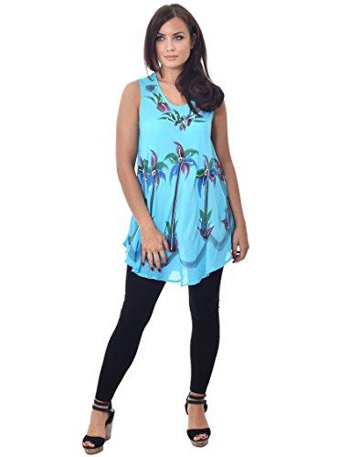 Donna ombrello taglio top leggero estivo top Tie Dye stampe floreali per taglia 8–20 Turquoise