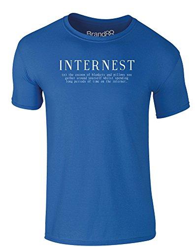 Brand88 - Internest, Erwachsene Gedrucktes T-Shirt Königsblau/Weiß