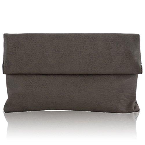 xardi London in finta pelle Donna Foldover Frizione Designer Donna Sera Borsa A Tracolla Nuovo Grey
